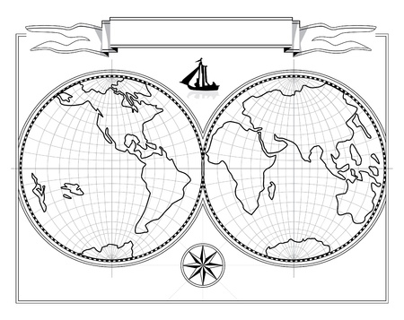 Map of hemispheres the drawing. The vector document of format eps. It is possible to change the size without illustration deterioration.