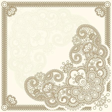 Ručně kreslená hena Mehndi Abstraktní květiny. Vektorové ilustrace.