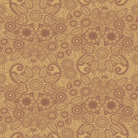 Hand-Drawn henna Mehndi Abstraktní květiny. Vektorové ilustrace. Seamless.