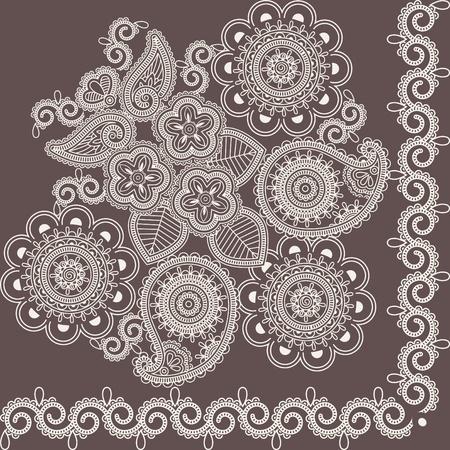 henna design: Mehndi Resumen Flores Vectores