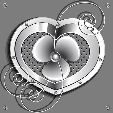 Metallic heart  with a fan and springs. Vector