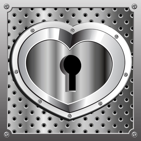 Metallic heart with a hole for the key.