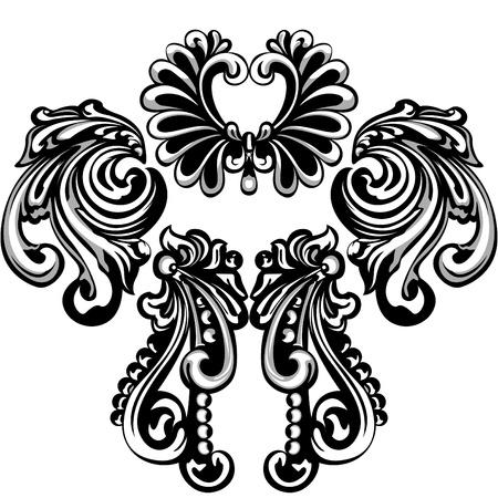 Decorative  patterns of cast metal. Illustration