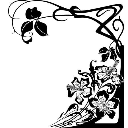 hoekversiering: Bloemen en floral design in Art Nouveau stijl.
