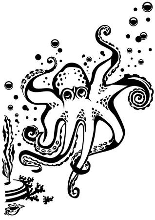 Chobotnice plovoucí mezi bublin. Všechny prvky mohou být přesunuty.