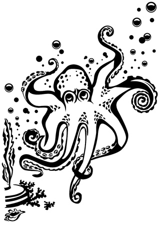 The octopus floating among bubbles. All elements can be moved. Vector