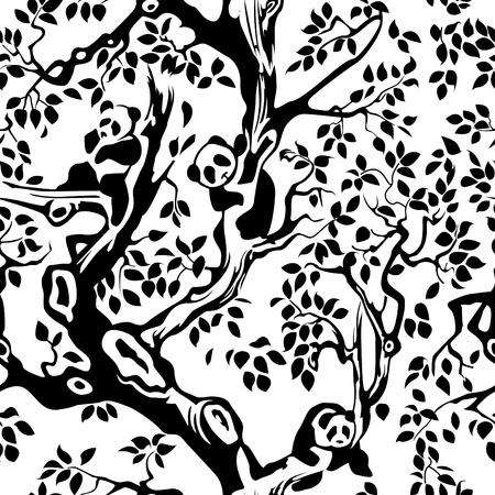 Pandas en el follaje y ramas de los árboles. Sin costura. Ilustración de vector