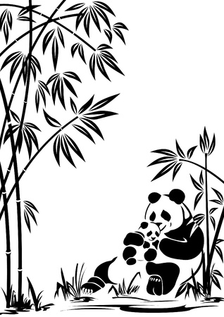 panda bear: Panda with a cub in bamboo thickets. To modify this file you will need vector editing software such as Adobe Illustrator, Freehand, or CorelDRAW.