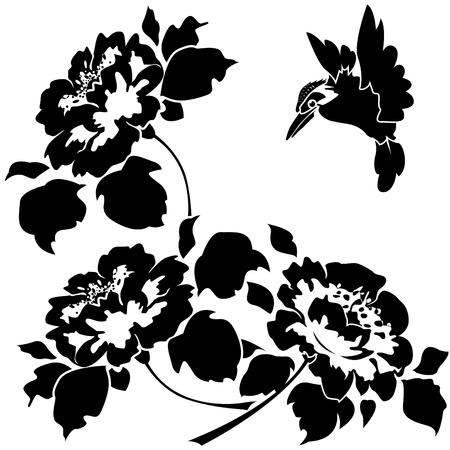 Asian tapety s květinami a ptáky. Seamless. Ilustrace
