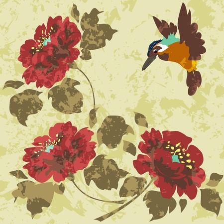 Staré špinavé asijské tapety s květinami a ptáky. Seamless. Ilustrace