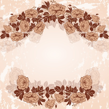 Vintage frame in pastel colors. The wreath of peonies.