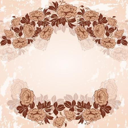 peonies: Vintage frame in pastel colors. The wreath of peonies.