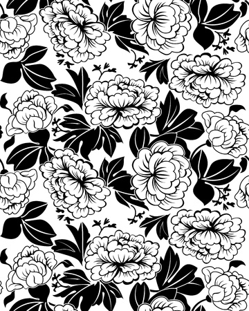 Large leaves and flowers of peonies. Black and white illustration. Seamless. Vector