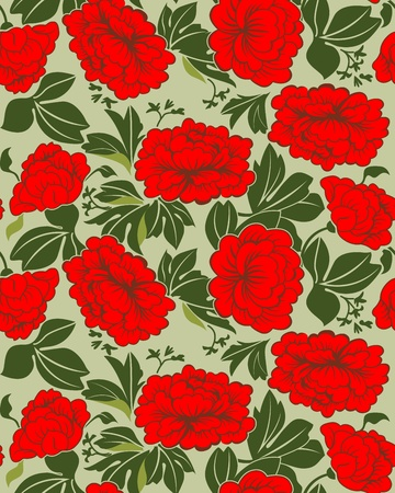 Red peonies in green foliage on a pale green background. Seamless. Vector