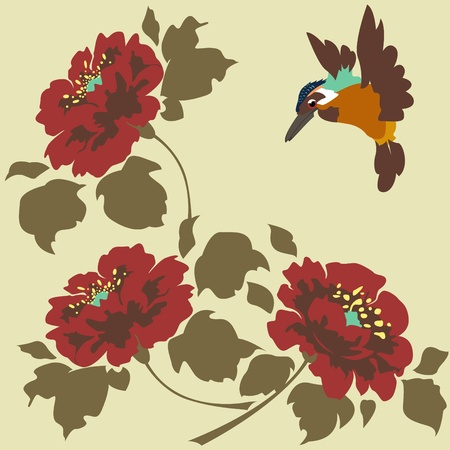 Asian Wallpaper with flowers and birds. Seamless.