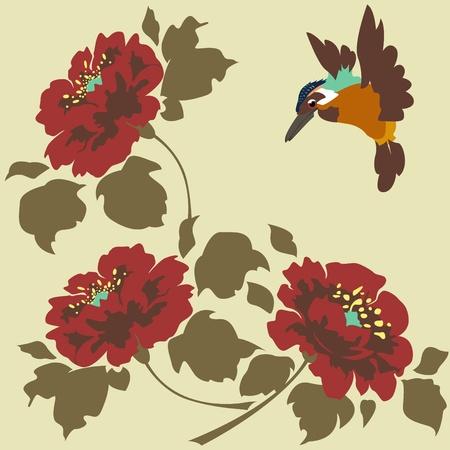 oriente: Fondos de Asia con flores y pájaros. Sin fisuras. Vectores