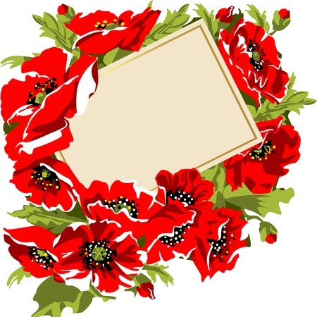 Card in a bouquet of poppies. Vector