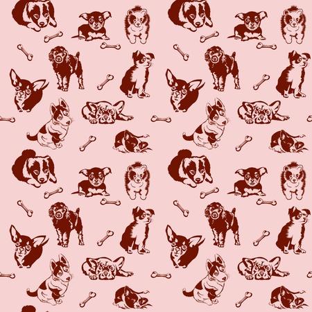 Colección de jugar perros de diferentes razas. Sin problemas. Ilustración de vector