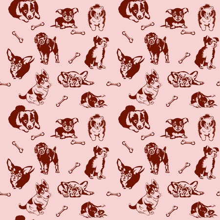 Collection of playing dogs of different breeds. Seamless. Vektorové ilustrace