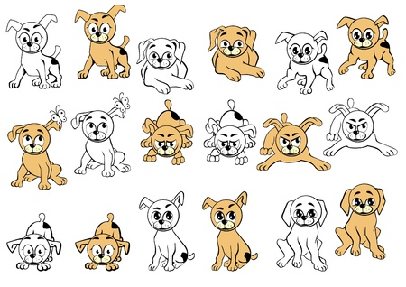 A collection of dogs with different facial expressions. Vector