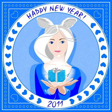 Beautiful blonde dressed as a rabbit, a Happy New Year. The text is written by hand and processed by the filter.