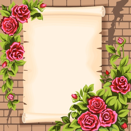 a bud: Brick wall,  scroll  and  roses. Illustration