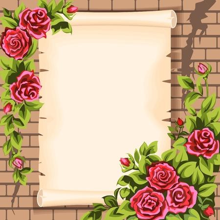 Cihlová zeď, svitek a růže.