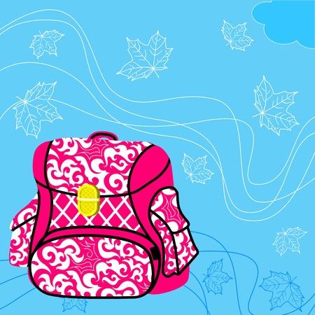 School bag. Blue background, flying maple leaves. Stock Vector - 11650714