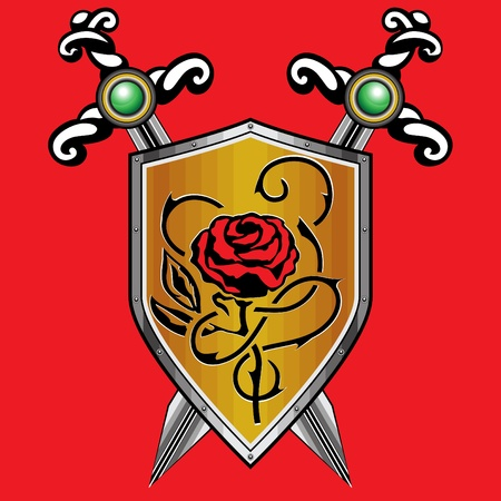 Golden shield  with a rose. The two crossed swords. Red background. Vector