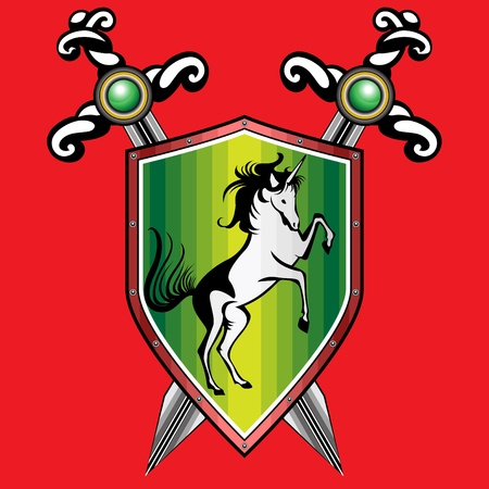 Golden  shield with a unicorn.  The two crossed swords. Red background. Vector