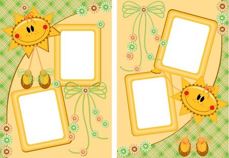 Photo dětí ve stylu skrapbuking. Vektorové ilustrace ve formátu EPS. Velikost dokumentu mohou být změněny bez ztráty kvality