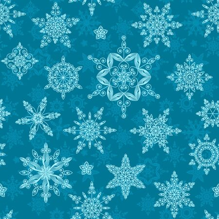 Set of snowflakes of different designs and sizes. Seamless. Vector