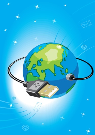 Globe with USB a socket. To modify this file you will need vector editing software such as Adobe Illustrator, Freehand, or CorelDRAW.