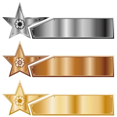 Kovové hvězdy. Sada bannerů různých typů kovů.