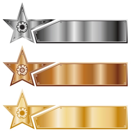 gold silver bronze: Metal stars. A set of banners of various types of metal.