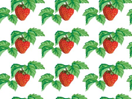 seamless of the strawberries with green leaves Vector