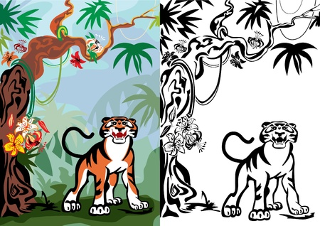 copse: Growling tiger under a blossoming tree. Illustration