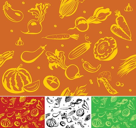 Seamless background from vegetables. Can be painted in any color. Vector