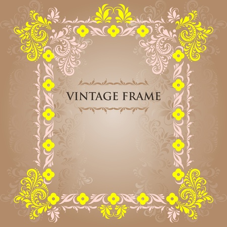 Vector vintage  frame  in the style of folk ornaments.