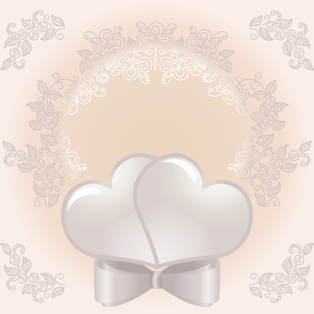 Background for wedding cards. Two hearts and floral designs. Illustration