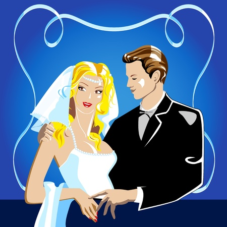 Wedding portrait. The bride and groom in a dark blue background. Vector