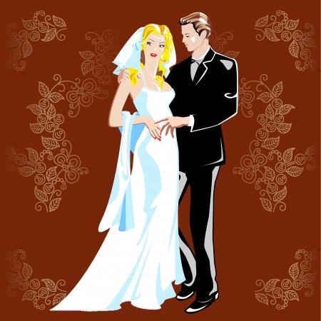 Svatební portrét. Nevěsta a ženich na pozadí květinový ornament.