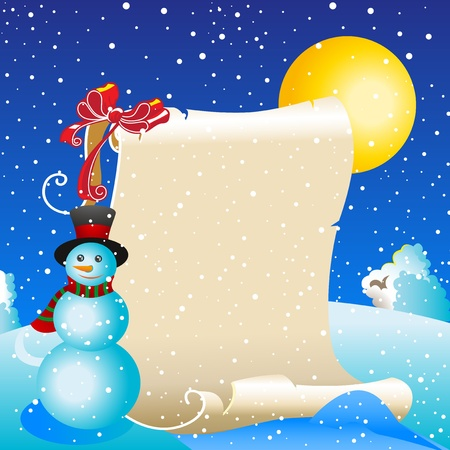 Scroll of old parchment against the winter landscape. The moon, snow, snowman. Illustration