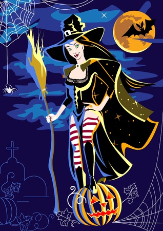 Beautiful witch with a broom and pumpkin. Stock Vector - 11650655