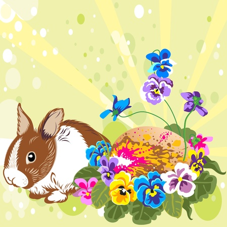 Easter egg, flowers and a hare Vector