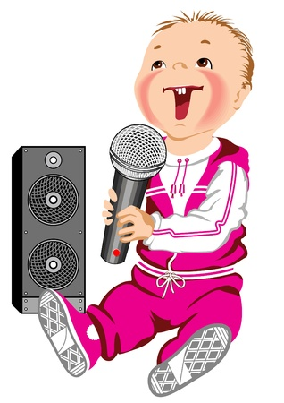 Kid singing into a microphone. Vector