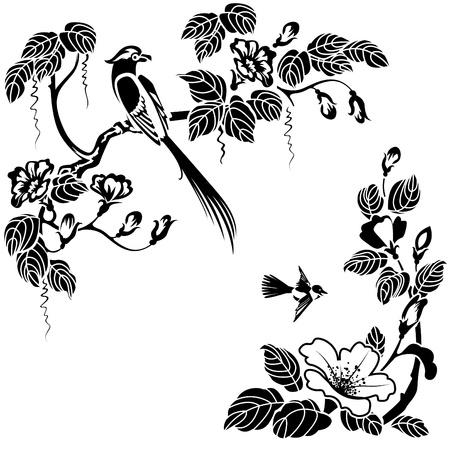 Květiny a ptáci v orientálním stylu. Černá a bílá vektor může být překreslena v jakékoliv barvě. Ilustrace