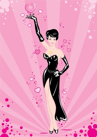 A beautiful brunette in a black dress and gloves on a pink background. Illustration