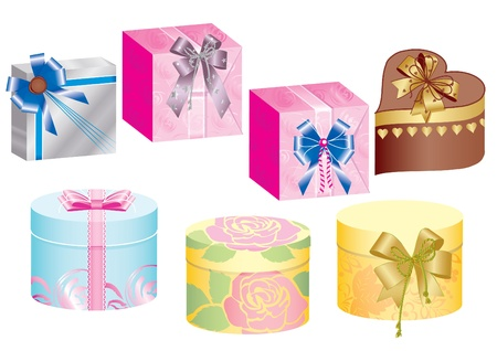three gift boxes: Gift boxes and ribbons.