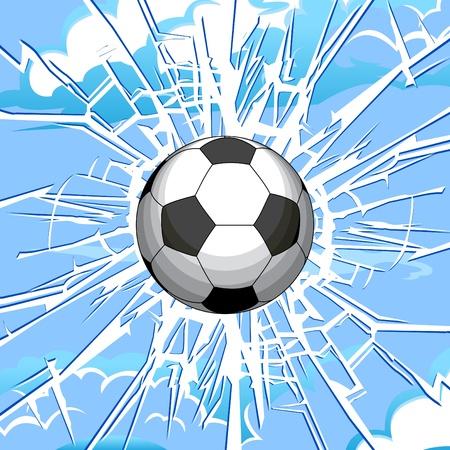 Voetbal bal en een scheur in het glas.